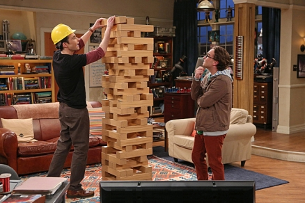 Big Bang theory giant size janga game used to symbolize a tech stack.