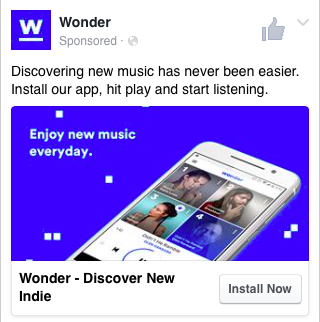 Example of a paid Facebook add for a social media blog