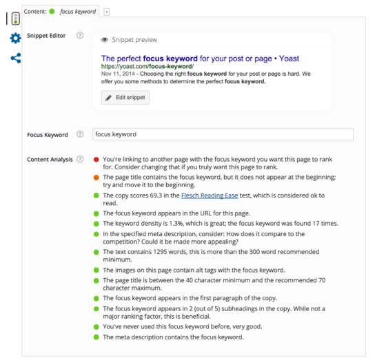 A screenshot of Yoast SEO.