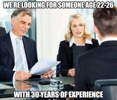 A funny meme of a candidate in an interview for a digital marketing job, but not having enough experience