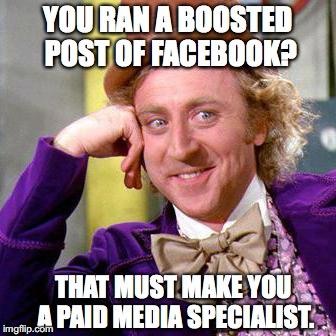 Digital marketing meme about Facebook advertising.
