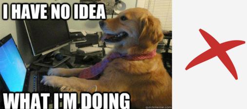 Funny digital marketing intern meme of a dog at a computer.