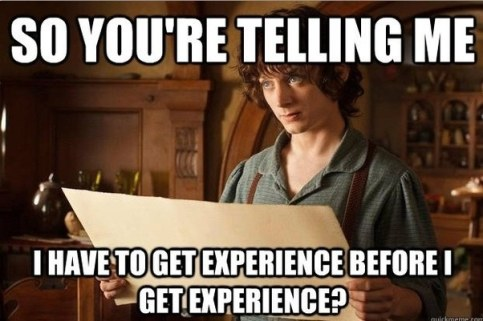 Funny internship meme joking about digital marketing job experience.