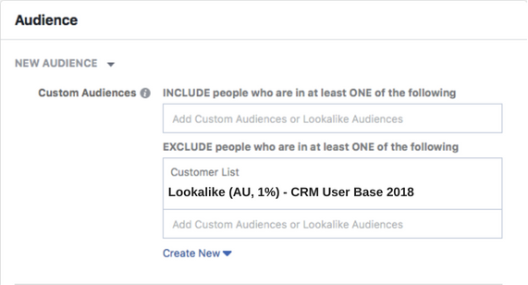 Adding a Facebook excluded audience of users ho have already converted.