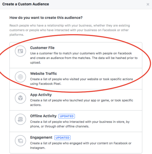 Selecting a customer file and website retargeting audience in Facebook Ads Manager