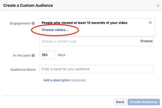Creating a custom audience based off content engagement in Facebook Ads Manager.