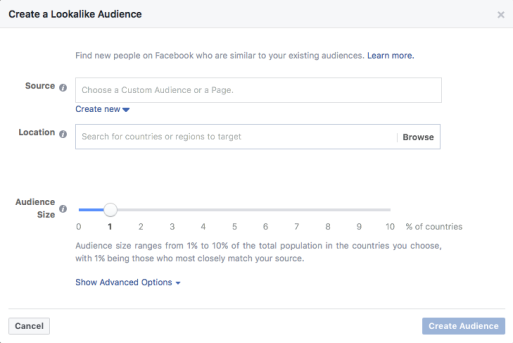 Creating a Facebook lookalike audience in Ads Manager.