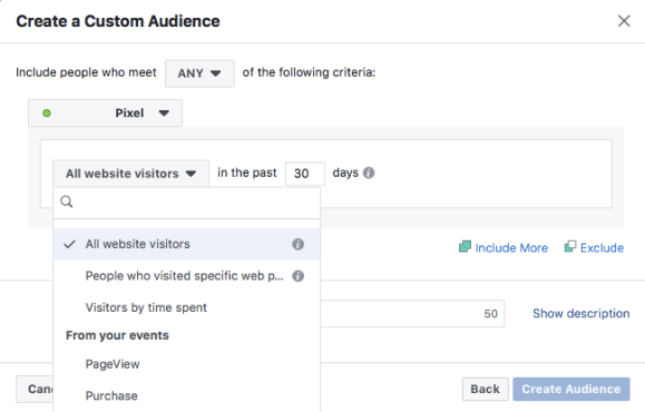 Creating a Facebook retargeting audience in Ads Manager.