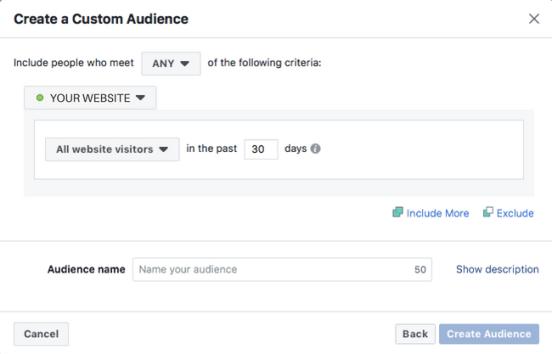 Facebook custom retargeting audience targeting period.