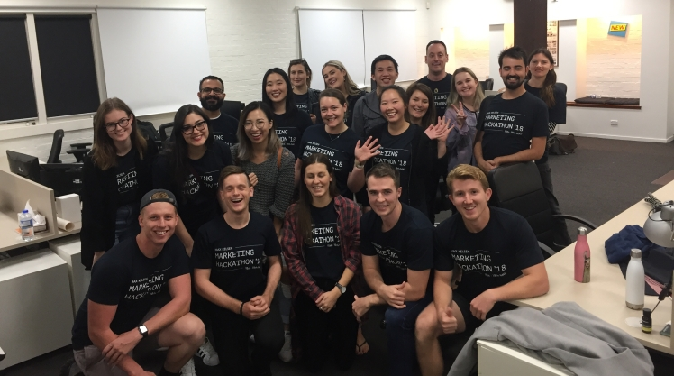 Group photo at the Brisbane Digital Marketing Hackathon