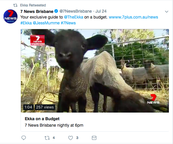 Screenshot of the Brisbane Ekka Twitter account retweeting social media content.