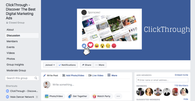 Facebook group for ClickThrough, the community-based platform for showcasing Digital Marketing ads.
