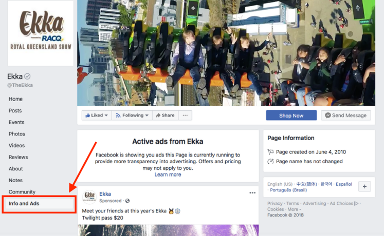 Screenshot of the Brisbane Ekka Facebook info and ads tab.