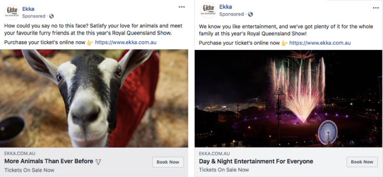 Facebook ads promoting the Brisbane Ekka, created by Digital Marketer, Lachlan Kirkwood.