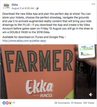 Facebook post published by the Ekka in 2018.