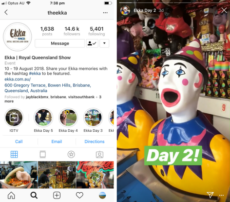 Instagram story highlights from the 2018 Brisbane Ekka