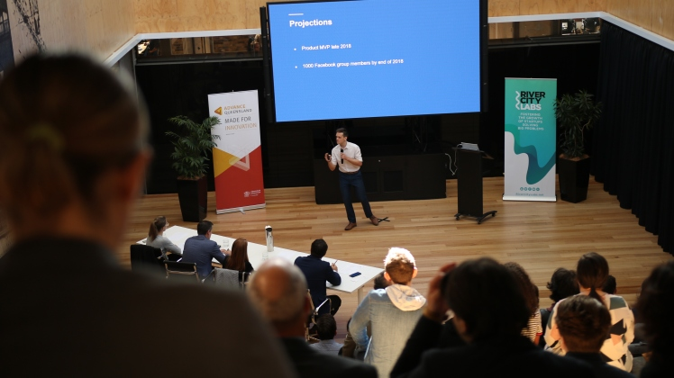 Lachlan Kirkwood pitching at the Young Starters Competition, hosted in River City Labs, Brisbane.