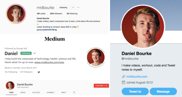 Screenshots of @mrdbourke social profiles.