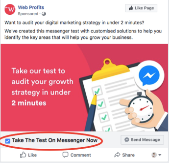 A Facebook ad with a Messenger CTA button.