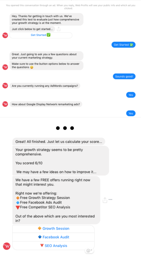 Screenshot of a Messenger ChatBot workflow designed to conduct an SEO audit.