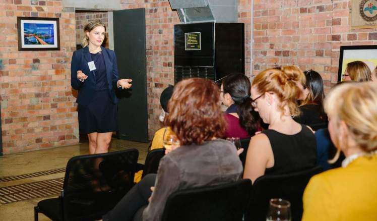 Holly Tattersall presenting at the Brisbane Women In Digital meet up.