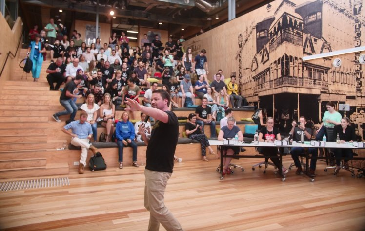 Crowd presenting at Brisbane's 2019 Startup Weekend.