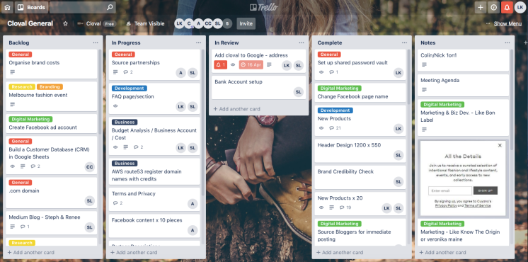 Trello project management board for Brisbane-based startup, Cloval.