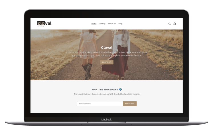 Sustainable clothing startup, Cloval, website UI.