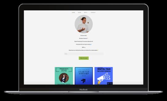 Lachlan Kirkwood's digital marketing blog UI displayed in a MacBook Air.