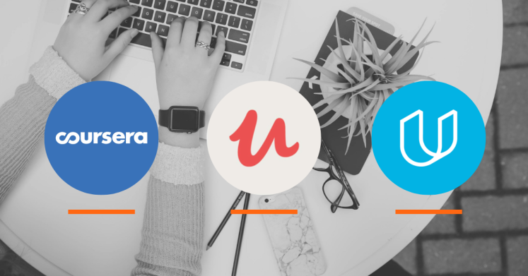Logos for online learning platforms, including Coursera, Udamey, and Udacity.