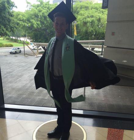 Lachlan Kirkwood graduating a digital marketing degree.