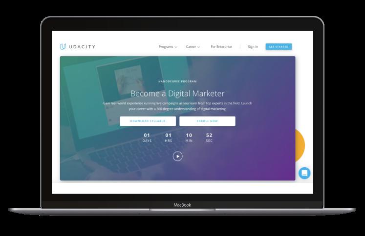Screenshot of online digital marketing training platform, Udacity.