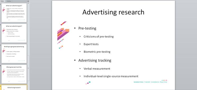 University marketing course lecture slides.