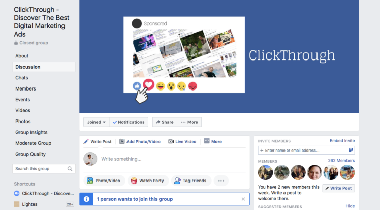 ClickThrough digital marketing Facebook group.