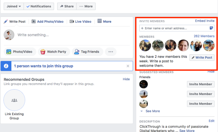 Facebook group member invite feature.