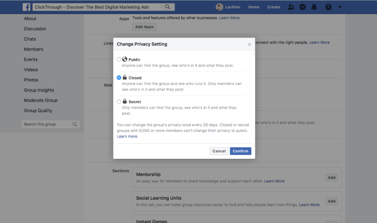 Facebook group settings optimised for a closed community.