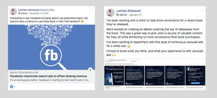 Lachlan Kirkwood publishing content in the ClickThrough digital marketing Facebook group.