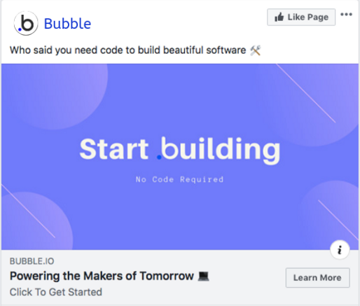 Bubble.io optimised Facebook image ad.