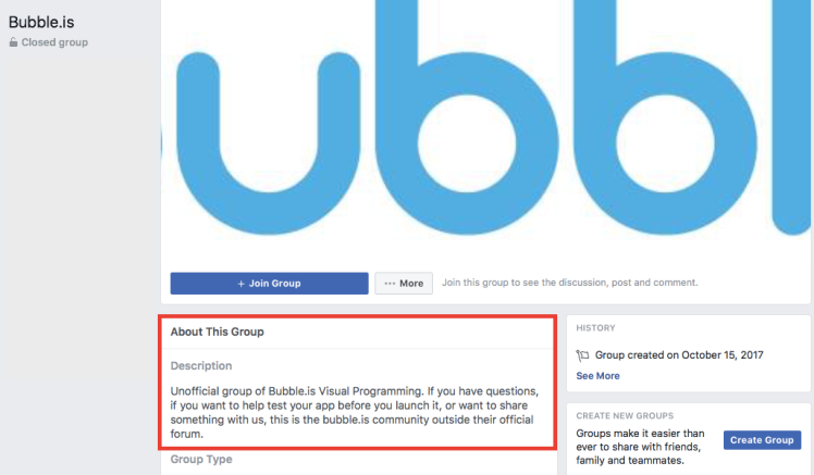 Bubble.io Facebook group.