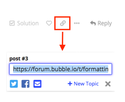 Social share button for the Bubble.io community forum.