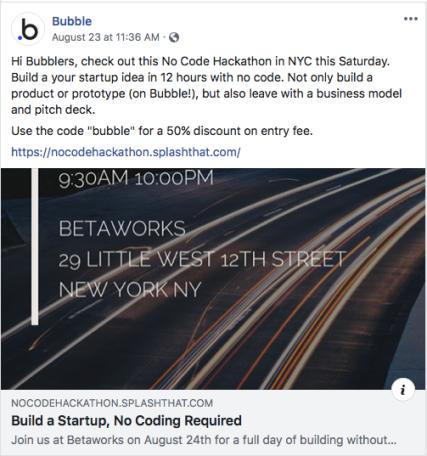 Bubble no-code development hackathon.