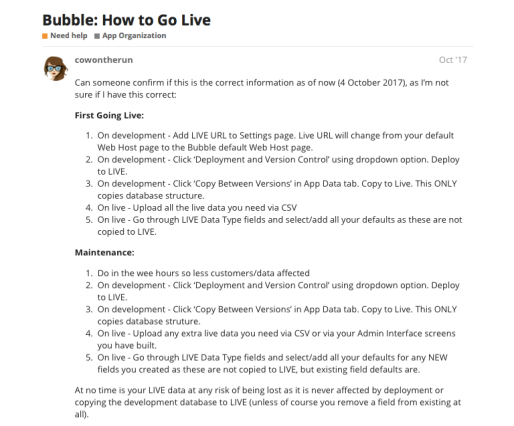 Bubble.io UX for deploying an application into production.