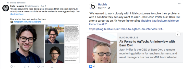 Bubble.io social media posts.