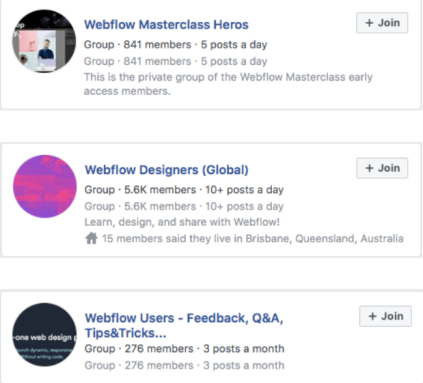 Webflow Facebook groups.