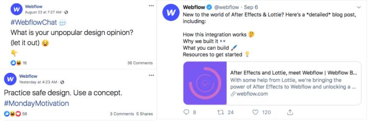 Webflow social media posts.