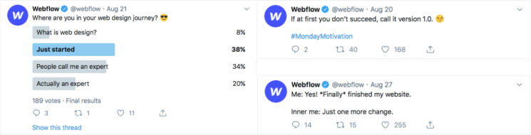 Webflow Twitter content marketing.