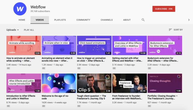 Webflow YouTube profile.