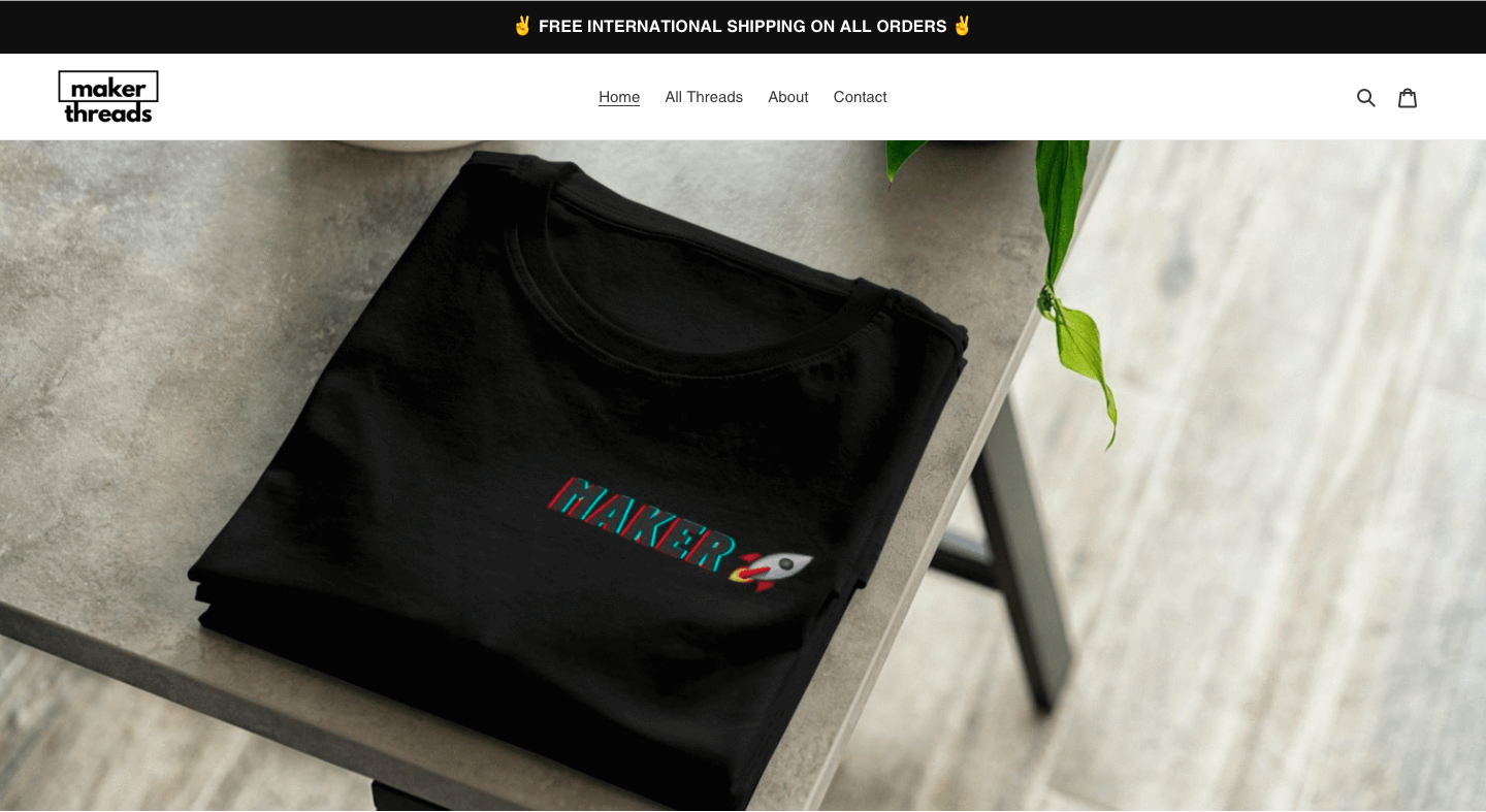 Maker Threads e-commerce store