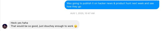 Startup messenger team conversation